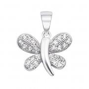 Срібна підвіска «Метелик» з фіанітами (S500-P)