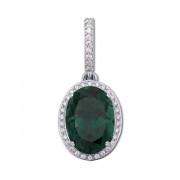 Срібна підвіска з зеленим кварцом і фіанітами (3681р)
