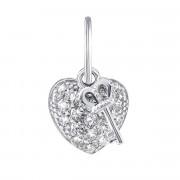 Срібна підвіска Серце з фіанітами (П2Ф/327)