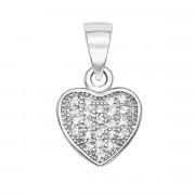 Срібна підвіска «Серце» з фіанітами (PSS0698-P/12/1)