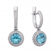 Срібні сережки-підвіски з блакитним кварцом і фіанітами (2058/9р)