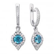Срібні сережки-підвіски з блакитним кварцом і фіанітами (2171/9р)