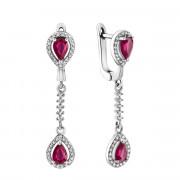 Срібні сережки-підвіски з рубіном і фіанітами (Тд0049/руб-E)
