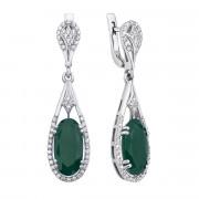 Срібні сережки-підвіски з зеленим агатом та фіанітами (2182/9р)