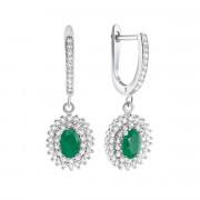 Срібні сережки-підвіски з зеленим агатом і фіанітами (Тд0050/агат-E)