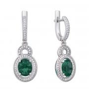 Срібні сережки-підвіски з зеленим кварцом і фіанітами (2157/9р)