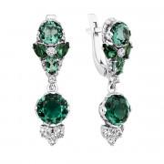 Срібні сережки-підвіски з зеленим кварцом і фіанітами (2782/9р-QGR)