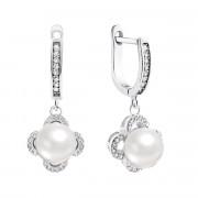 Срібні сережки-підвіски з перлами і фіанітами (PSS0312ED)