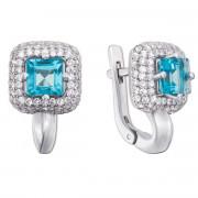 Срібні сережки з блакитним кварцом і фіанітами (2158/9р)