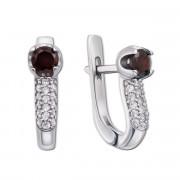 Срібні сережки з гранатом і фіанітами (2129/9р)