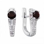 Срібні сережки з гранатом і фіанітами (2166/9р)