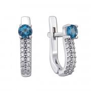 Срібні сережки з лондон-топазом і фіанітами (2135/9р)