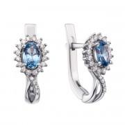 Срібні сережки з лондон-топазом і фіанітами (2150/9р)