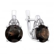 Срібні сережки з раухтопазом і фіанітами (2511/9р)