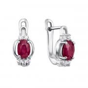 Срібні сережки з рубіном і фіанітами (Тд0007/руб-E)