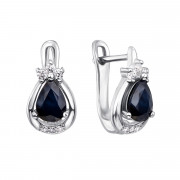 Срібні сережки з сапфіром і фіанітами (Тд0017/сап-E)