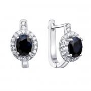 Срібні сережки з сапфіром і фіанітами (Тд0006/сап-E)