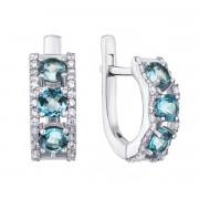Срібні сережки з топазом і фіанітами (2128/9р)