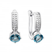 Срібні сережки з топазом swiss і фіанітами (Тд0018/топsw-E)