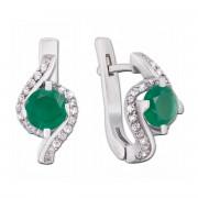 Срібні сережки з зеленим агатом і фіанітами (2165/9р)
