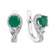 Срібні сережки з зеленим агатом та фіанітами (2381/9р)