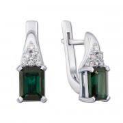 Срібні сережки з зеленим кварцом і фіанітами (2155/9р)